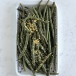 Grilled green beans with black garlic