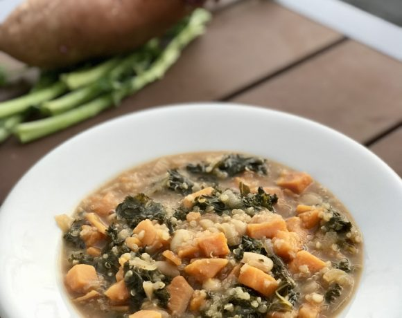 Taste of autumn yam and kale stew