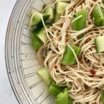 Sesame somen salad is an vegan dinner for kids